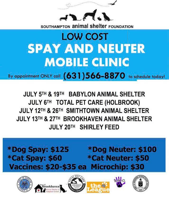 July 2017 Mobile Clinic Calendar